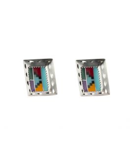 LARG NATIVE AMERICAN NAVAJO CONCHOS EARRINGS, SILVER AND MULTICOLORED STONES
