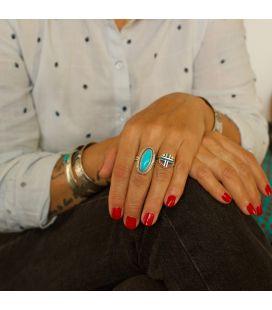 Grosse bague Navajo en Argent et Turquoise, pièce unique, pour femme