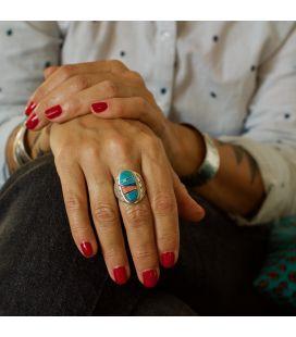 Grosse Chevalière Zuni Multicolore ovale, Argent 925 et marqueterie de pierres, pour homme et femme