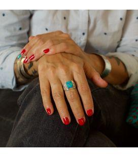 Chevalière Zuni rectangle, Argent 925 et marqueterie de Turquoise, pour homme et femme
