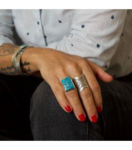 Bague Zuni rectangle, Argent et marqueterie de Turquoise, pièce unique par Amy Quandalacy, pour homme ou femme