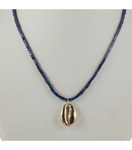 """Collier """"Cauri"""" Banditas, Turquoise carrée et Cauri Vermeil montés sur Gold Filled 14K, pour femme"""