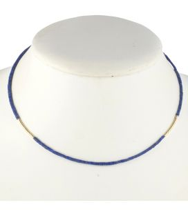 Ras de Cou Banditas, tubes de Lapis Lazuli et Gol Filled 14K, pour femme