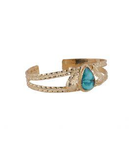 """Bracelet """"3 branches"""" en Vermeil et Turquoise d'Arizona, Banditas création originale, pour femme"""