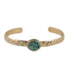 Manchette Banditas Bijoux Créations, en Vermeil travaillé et Turquoise Arizona (ou pierre au choix), fait main, pour femme et en