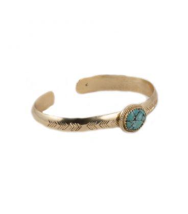 Jonc Banditas Bijoux Créations en Vermeil estampé et Turquoise d' Arizona, fait main, pour femme
