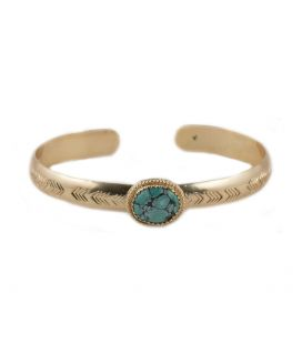 Banditas Creations 2 bars Bracelet, Silver and Pilot Mountain Turquoise, for women