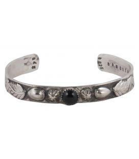 """Bracelet """"3D"""" Banditas Créations, en Argent estampé et pierre ( au choix) , fait main, pour homme et femme"""
