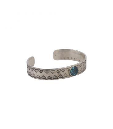 Bracelet bande Banditas Créations en Argent estampé et Turquoise, fait main, pour homme et femme