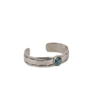 Bracelet 1/2 jonc Banditas Créations en Argent estampé et Turquoise, fait main, pour homme et femme