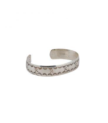 Bracelet 1/2 jonc Banditas Créations en Argent estampé, fait main, pour homme et femme