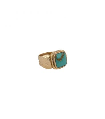 Banditas Creations ring, gold plated and LArimar, for women