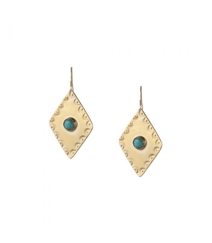 plusieurs couleurs dernier style magasiner pour véritable Boucles d'oreilles Losange Banditas Bijoux, en Vermeil estampé et Turquoise  ronde, fait main, pour femme et enfa