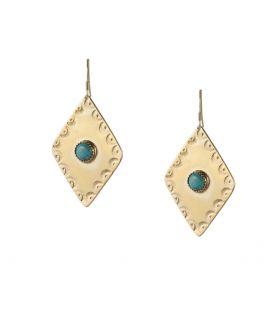 Boucles d'oreilles Losange Banditas Bijoux, en Vermeil estampé et Turquoise ronde, fait main, pour femme et enfa