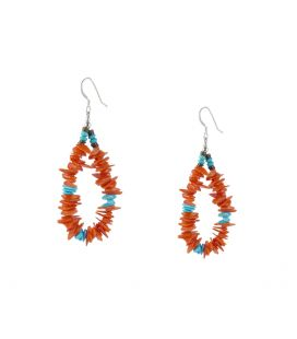 Boucles d'oreilles Pueblo en Corail et Turquoise, entièrement fait main, pour femme