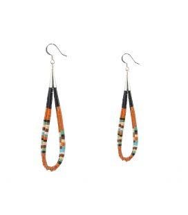 Boucles d'oreilles Pueblo doubles en pierre, entièrement fait main, pour femme