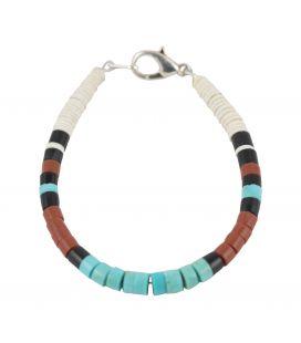 Bracelet Pueblo Jaspe Turquoise, par Delbert Crespin, entièrement fait main, pour homme et femme