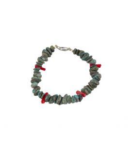 Bracelet Pueblo en Turquoise et Corail, par Eileen Coriz, entièrement fait main, pour homme et femme