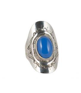 Chevalière Touareg en Argent travaillé et Agate bleue, Collection Afrique, pour femme