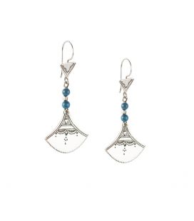 TOUAREG WOMEN EARRINGS, DESERT GODESS HEAD,SILVER AND AGATE