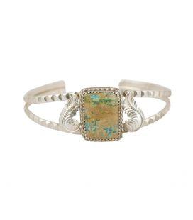 Bracelet Banditas Créations en Argent et Turquoise rectangle, fait main, pour femme