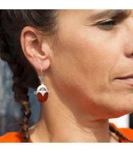 """BOUCLES D'OREILLES TOUAREGS """"TETE DE DEESSE DU DESERT"""" EN ARGENT ET CORNALINE, POUR FEMME"""