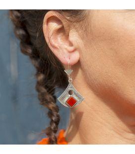 TOUAREG WOMEN EARRINGS, DESERT GODESS HEAD,SILVER AND AGATE