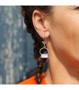 TUAREGS WOMEN EARRINGS, SILVER AND GLASS BEADS