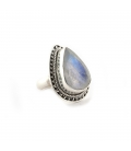 Indian Ring, big drop Labradorite on forged Silver, for woman