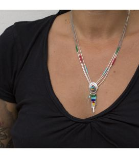 """Liquid Silver"" 5 multicolored rows necklace. Zuni heart pendant ,for women and girls ."
