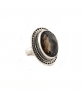 """Indian Ring, beautiful oval faceted Smoked Quartz"""" Turquoise on embroidered Silver, for women"""