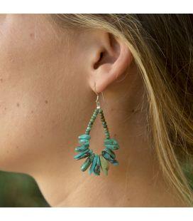 Boucles d'oreilles Pueblo en Turquoise verte, entièrement fait main, pour femme