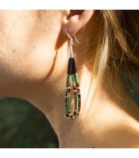 Boucles d'oreilles Pueblo doubles en pierre, par Dorene Calabaza, entièrement fait main, pour femme