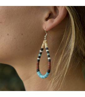 Boucles d'oreilles Pueblo en pierre, par Delbert Crespin, entièrement fait main, pour femme