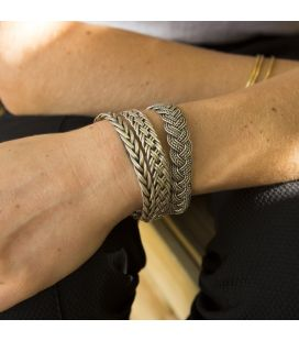 BERBER BRAID 3 WIRE BRACELET, SILVER, FOR WOMEN AND MEN