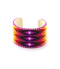 Very larg,NATIVE AMERICAN NAVAJO CUFF IN EMBROIDERED BEADS by Jacqueline Cleveland