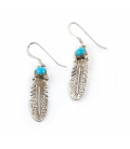 Silver and Turquoise 2 Feather Earrings, from Native American Navajo, woman or girl