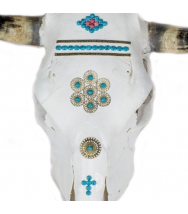 REAL COW SKULL WITH TURQUOISES AND BRONZE, BANDITAS CREATION