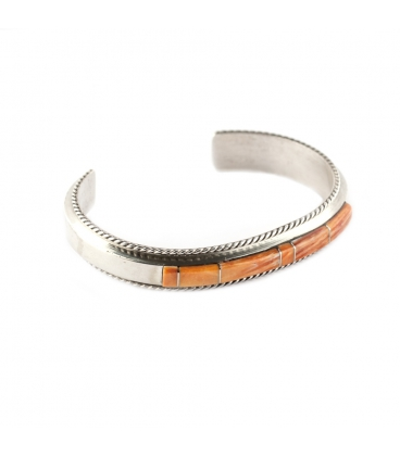 """Native American Navajo Bracelet for Woman, Silver and """"Red Oyster"""""""