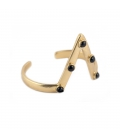 """2 BANDITS """"STUDDED PEAKIN"""" CUFF, GOLD PLATTED AND ONYX, for women"""