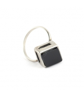 """""""NORTH STAR"""" RING, SILVER PLATED and ONYX, for women"""