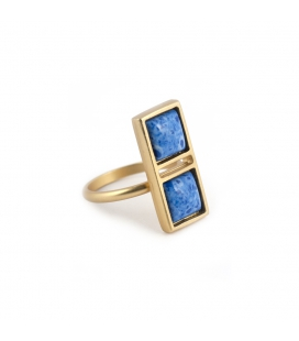 """""""DOUBLE SQUARE""""RING , GOLD PLATED and DENIM LAPIS, for women"""
