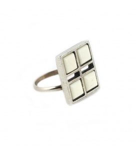 """""""GRID"""" RING, SILVER PLATED and BONES BEADS, for women"""