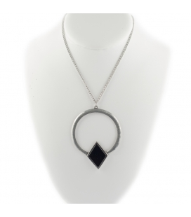"2 BANDITS ""GARDEN ROUTE"" necklace, silver PLATED and Onyx, for women"