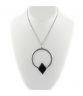 """2 BANDITS """"GARDEN ROUTE"""" necklace, silver PLATED and Onyx, for women"""