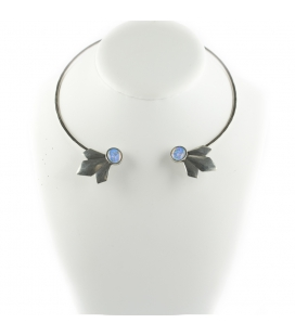 """2 BANDITS """"OPEN SCARECROW"""" necklace, silver PLATED and Simulated Opal, for women"""